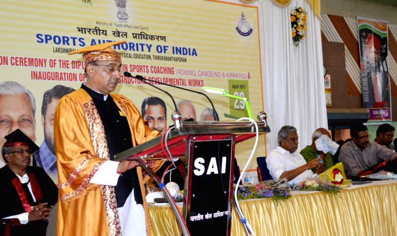 Minister of State for Youth Affairs and Sports (I/C), Water Resources, River Development and Ganga Rejuvenation Vijay Goel addresses at the 4th convocation ceremony of the Diploma ...
