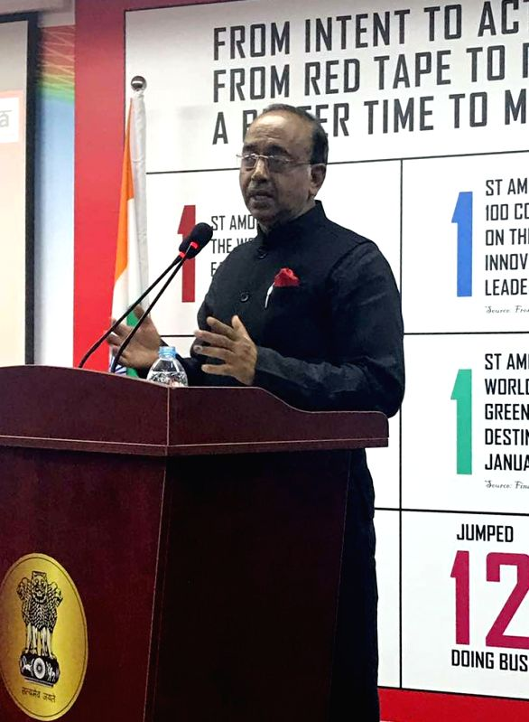 Minister of State for Youth Affairs and Sports (I/C), Water Resources, River Development and Ganga Rejuvenation Vijay Goel interacts with the Indian community in Shanghai on June 12, 2017.