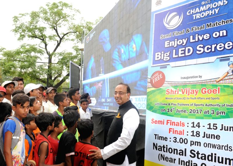 Minister of State for Youth Affairs and Sports (I/C), Water Resources, River Development and Ganga Rejuvenation Vijay Goel inaugurates the Big LED Screen for public viewing of semi final ...