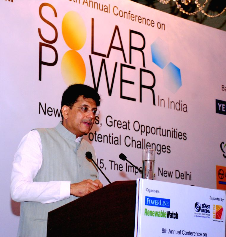 Minister of State (Independent Charge) for Power, Coal and New and Renewable Energy Piyush Goyal addresses the 8th Annual Conference on Solar Power in India, in New Delhi on June 29, 2015.