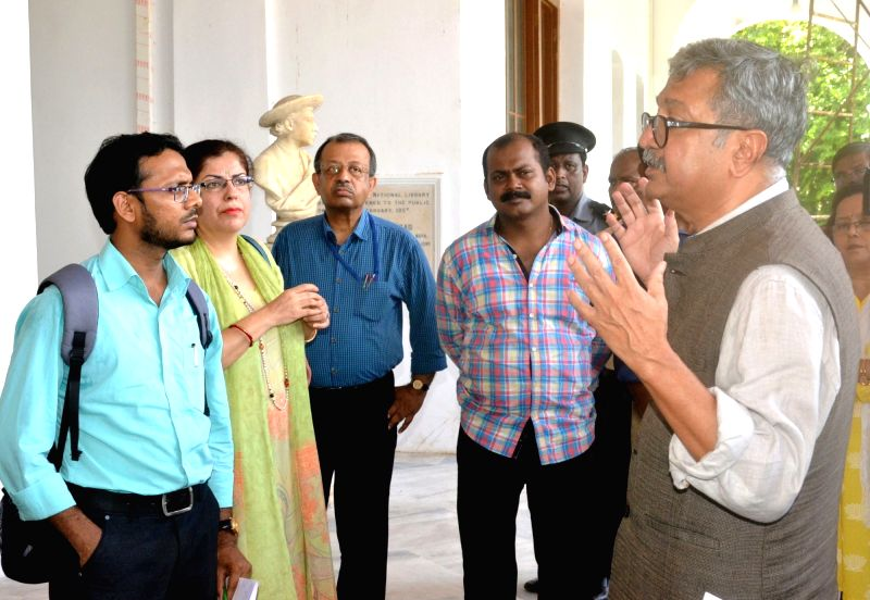 Ministry of Culture Secretary Raghvendra Singh reviews the ongoing restoration, renovation and revamping works at the Belvedere House of the National Library, in Kolkata, on July 19, 2018. - Secretary Raghvendra Singh