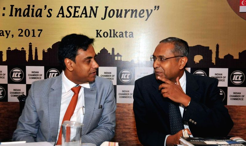 Ministry of External Affairs Joint Secretary(ASEAN-ML) Anurag Bhushan, NITI Ayog Advisor Manoj Singh and Indian Council of World Affairs Joint Secretary Piyush Srivastav during Kolkata ...