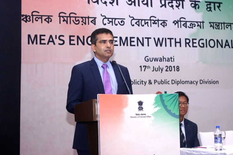 "Ministry of External Affairs spokesperson Raveesh Kumar addresses during ""MEA's Engagement with Regional Media"" programme, in Guwahati on July 17, 2018. - Raveesh Kumar"