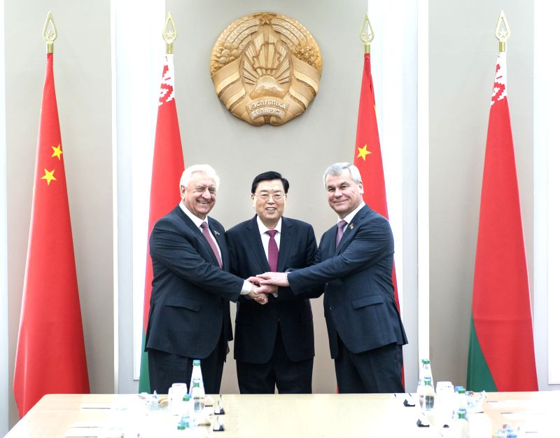 MINSK, April 19, 2017 - Zhang Dejiang (C), chairman of the Standing Committee of China's National People's Congress (NPC), holds talks with Chairman Mikhail Myasnikovich of the Belarusian Council of ...