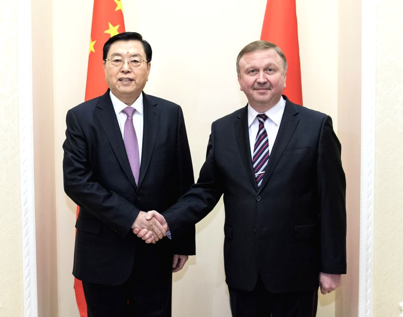 MINSK, April 19, 2017 - Zhang Dejiang, chairman of the Standing Committee of China's National People's Congress (NPC), meets with Belarusian Prime Minister Andrei Kobyakov in Minsk, Belarus, April ... - Andrei Kobyakov