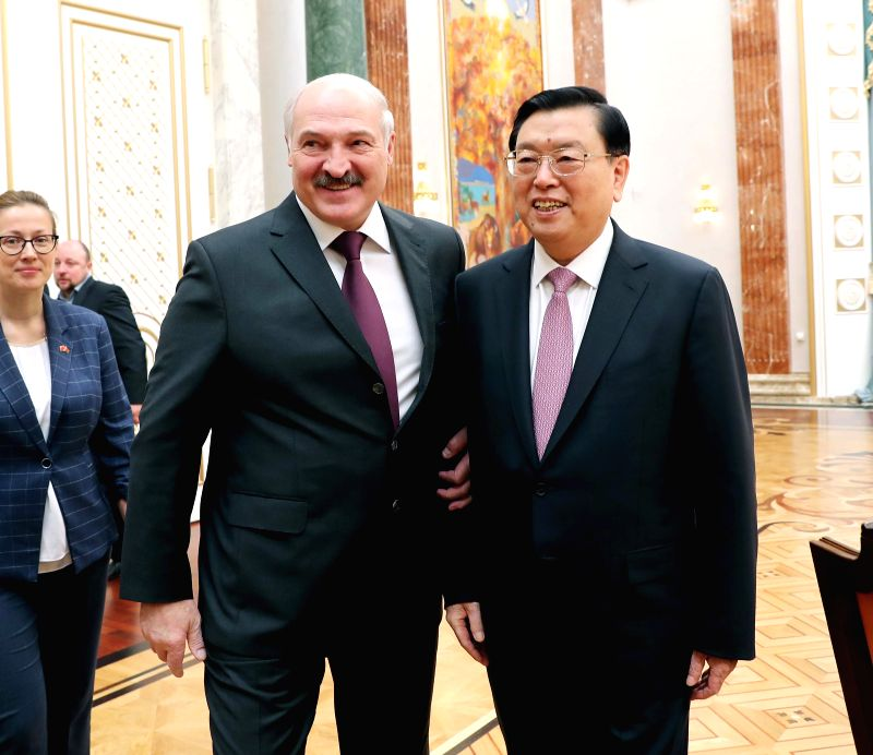MINSK, April 19, 2017 - Zhang Dejiang, chairman of the Standing Committee of China's National People's Congress (NPC), meets with Belarusian President Alexander Lukashenko in Minsk, Belarus, April ...
