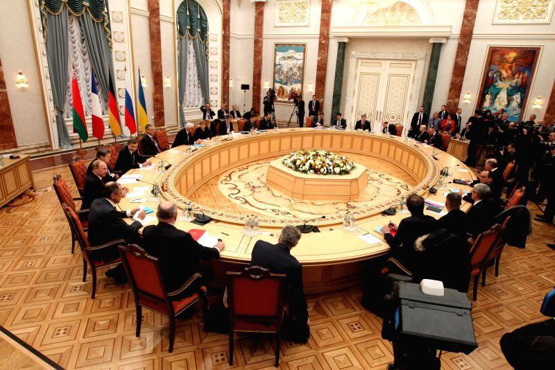 Photo taken on Feb. 11, 2015 shows the four-way peace talks on the Ukraine crisis in Minsk, Belarus, on Feb. 11, 2015. Four-way peace talks on the Ukraine crisis ...