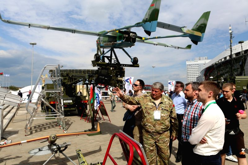 MINSK, May 21, 2017 - Photo taken on May 20, 2017 shows a scene of the 8th International military exhibition MILEX-2017 in Minsk, Belarus.  (hy