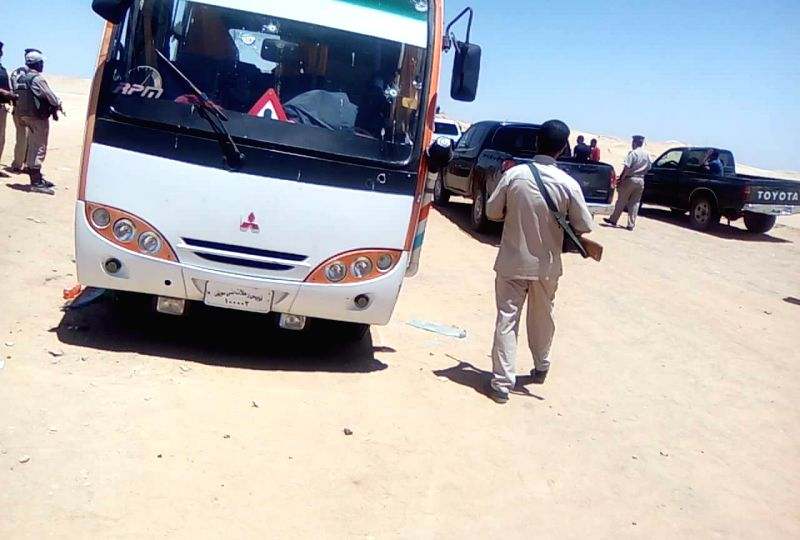 MINYA (EGYPT), May 27, 2017 Photo taken by mobile phone shows one of the buses attacked by gunmen in the Minya governorate, about 220 kilometers south of Cairo, Egypt, May 26, 2017. ...
