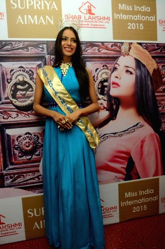 Miss India Supriya Aiman during a programme in Patna, on Nov 26, 2015.