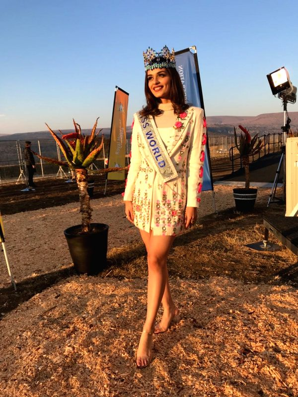 Miss World 2017 Manushi Chhillar during the launch of one of the world's first 100% compostable menstrual hygeine pad machine on legendary anti-apartheid leader Nelson Mandela's 100th birthday ...
