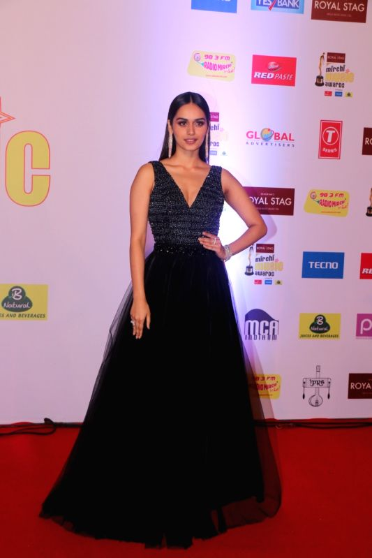 "Miss World Manushi Chhillar at the red carpet of ""10th Mirchi Music Awards"" in Mumbai on Jan 28, 2018."