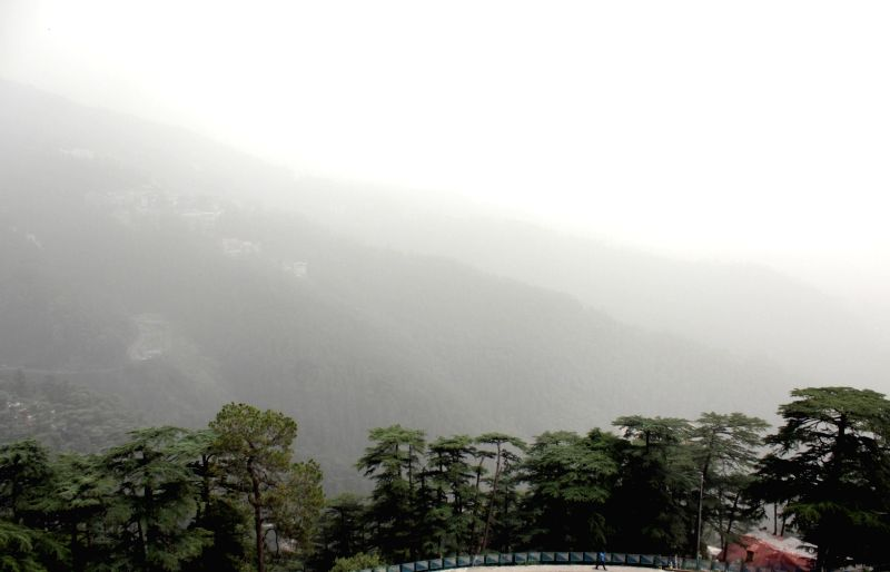 Mist reduces visibility, in Shimla on June 14, 2018.