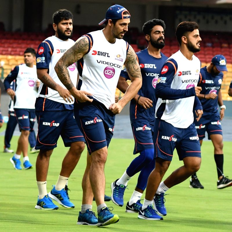 Mitchell Johnson of Mumbai Indians during a practice session at Chinnaswamy Stadium in Bengaluru on May 18, 2017.