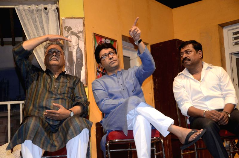 MNS Chief Raj Thackeray and other dignitaries celebrate the 100th show of Marathi drama `Gholat Ghol` in Mumbai on Aug 3, 2014.