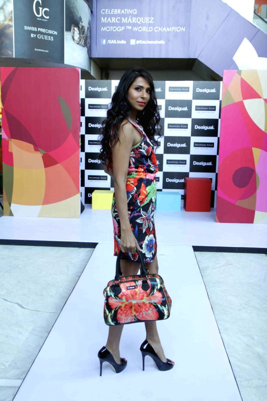 Model Candice Pinto at the launch of the brand 'Desigual' shop-in-shop exclusively at Shoppers Stop, Juhu in Mumbai on 23rd April 2015.