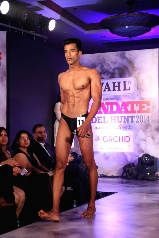 Model during the Wahl Mandate Male Model Hunt 2014, in Mumbai, on Aug. 24, 2014.