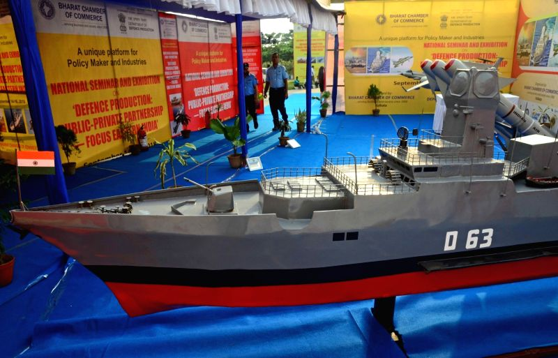 "Model of a ship on display during ""Defence Production: Public-Private Partnership – Focus Eastern India"" in Kolkata on Sept 14, 2018."