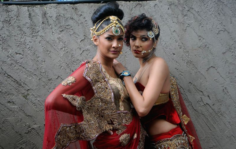 Models Carol Gracias and Diandra Soares during the preview of Rohit Verma`s newest collection `Vrindavan` presented this Janmashtami, in Mumbai on Aug 14, 2014.