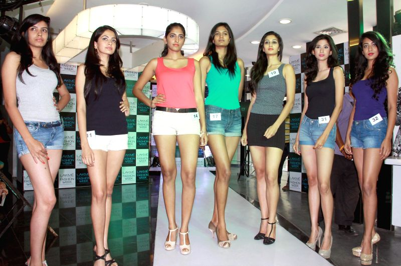 Models during Lakme auditions in Bangalore on June 26, 2014.