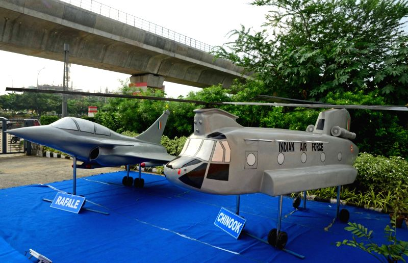 "Models of aircraft on display during ""Defence Production: Public-Private Partnership – Focus Eastern India"" in Kolkata on Sept 14, 2018."