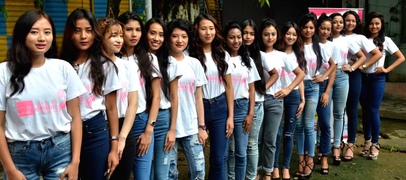 Models selected as the final participants for a contest of Face of Northeast 2018 during a press conference, in Guwahati on June 14, 2018.