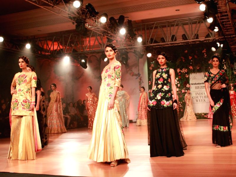 Models showcase the creations of designer Pallavi Jaikishan at India Couture Week 2018 , in New Delhi on July 26,2018.