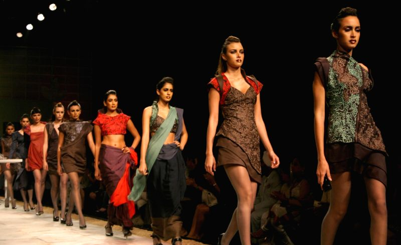 Models showcasing designers Ankita andAnjana Bhargav creations at the Wills Lifestyle India Fashion Week 2010, in New Delhi on Thrusday.