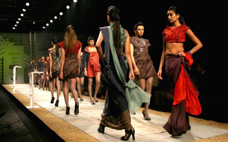 Models showcasing designers Ankita andAnjana Bhargav creations at the Wills Lifestyle India Fashion Week 2010, in New Delhi on Thrusday.