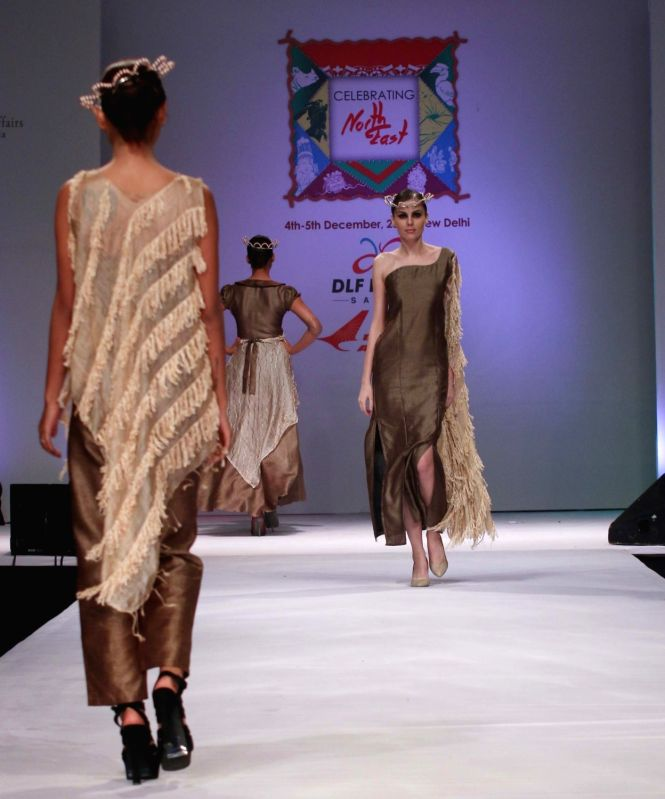 Models walk the ramp at the North East Fashion show in Delhi on Dec. 5, 2015.