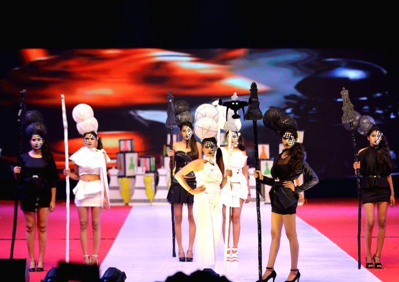 "Models walk the ramp during ""IWP Melange 2017"" - a fashion show organised Jawaharlal Nehru Stadium in New Delhi."