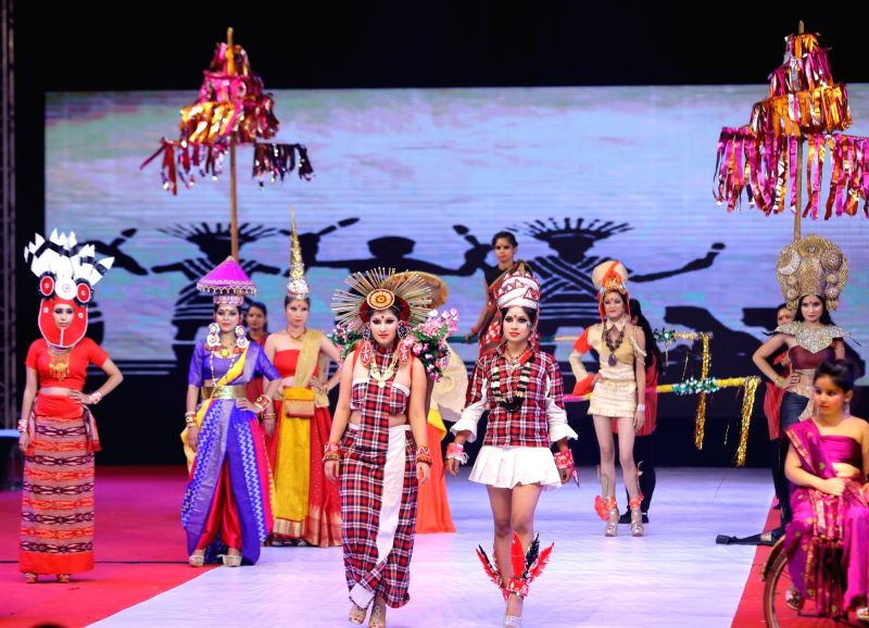 "Models walk the ramp during ""IWP Melange 2017"" - a fashion show organised Jawaharlal Nehru Stadium in New Delhi."