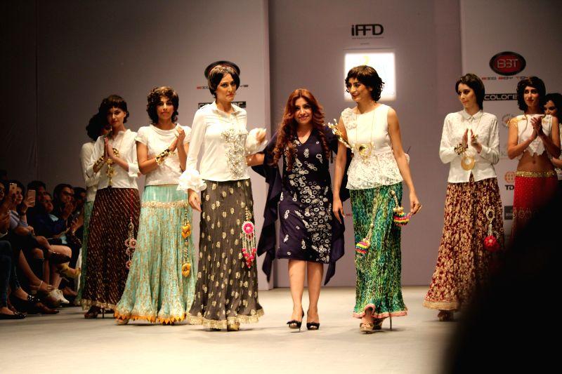 Models walks the ramp for designer Varija Bajaj during India Runway Week Season 8 Summer/Spring at Thdyagraj Stadium in New Delhi on April 28, 2017.