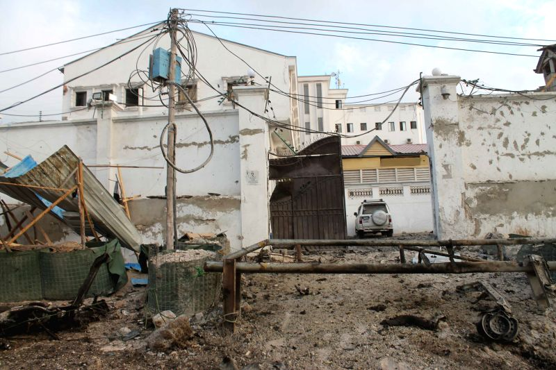 Photo taken on March 27, 2015 shows the front gate of Maka Al-mukarama Hotel after an explosion in Mogadishu, capital of Somalia, on March 27, 2015. At least ...