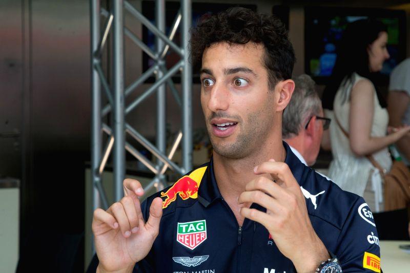 MOGYOROD, July 27, 2018 - Red Bull driver Daniel Ricciardo of Australia speaks during a press conference ahead of the Hungarian F1 Grand Prix on the Hungaroring circuit in Mogyorod, Hungary on July ...