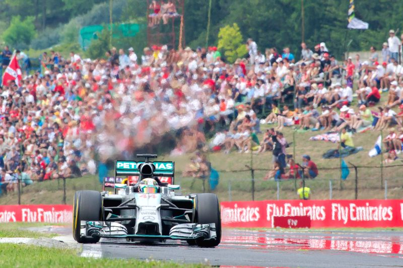 Mercedes Formula One driver Lewis Hamilton of Britain drives his car at the F1 Hungarian Grand Prix in Mogyorod, Hungary on July 27, 2014. Lewis Hamilton finished .
