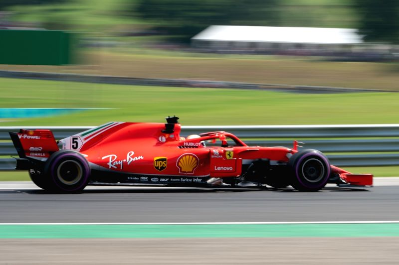 MOGYOROD, July 28, 2018 - Ferrari's German driver Sebastian Vettel steers his car during the first free practice of the Hungarian Formu1a one Grand Prix at Hungaroring in Mogyorod, Hungary on July ...