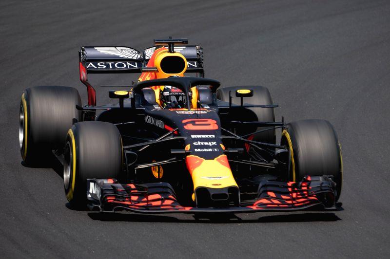 MOGYOROD, July 28, 2018 - Red Bull Racing's Australian driver Daniel Ricciardo steers his car during the first free practice of the Hungarian Formu1a one Grand Prix at Hungaroring in Mogyorod, ...