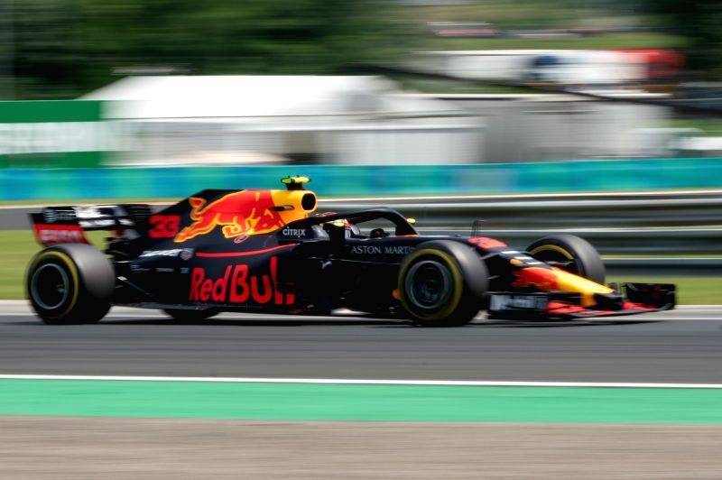 MOGYOROD, July 28, 2018 - Red Bull Racing's Dutch driver Max Verstappen steers his car during the first free practice of the Hungarian Formu1a one Grand Prix at Hungaroring in Mogyorod, Hungary on ...