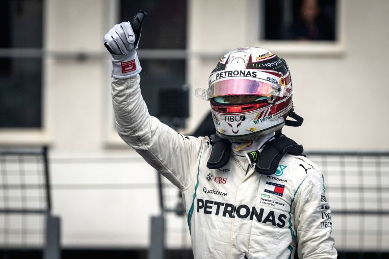 MOGYOROD, July 29, 2018 - Mercedes AMG Petronas F1 team's Lewis Hamilton celebrates after qualifying session of the Hungarian Formula One Grand Prix at Hungaroring in Mogyorod, Hungary, on July 28, ...
