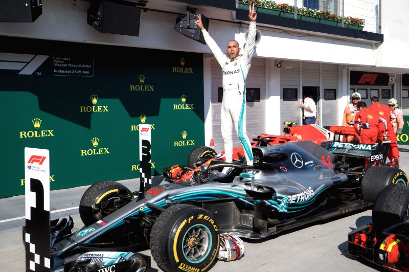 MOGYOROD, July 30, 2018 - Mercedes AMG Petronas F1 Team's Lewis Hamilton celebrates his victory after winning the Formula One Hungarian Grand Prix in Mogyorod, Hungary on July 29, 2018. Lewis ...