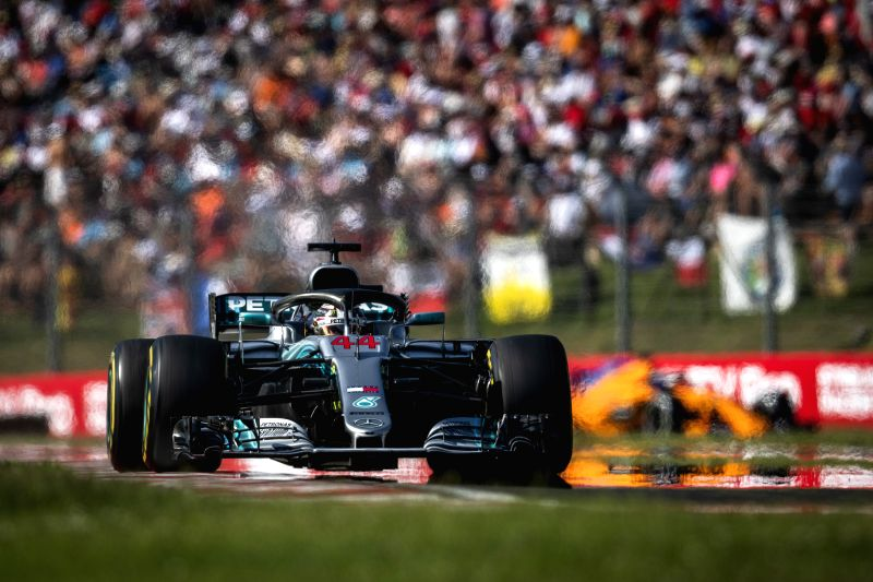 MOGYOROD, July 30, 2018 - Mercedes AMG Petronas F1 Team's Lewis Hamilton competes during the Formula One Hungarian Grand Prix in Mogyorod, Hungary on July 29, 2018. Lewis Hamilton won with 1 hour 37 ...