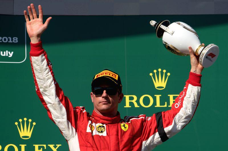 MOGYOROD, July 30, 2018 - Scuderia Ferrari's Kimi Raikkonen shows his trophy during the awarding ceremony of the Formula One Hungarian Grand Prix in Mogyorod, Hungary on July 29, 2018. Kimi Raikkonen ...