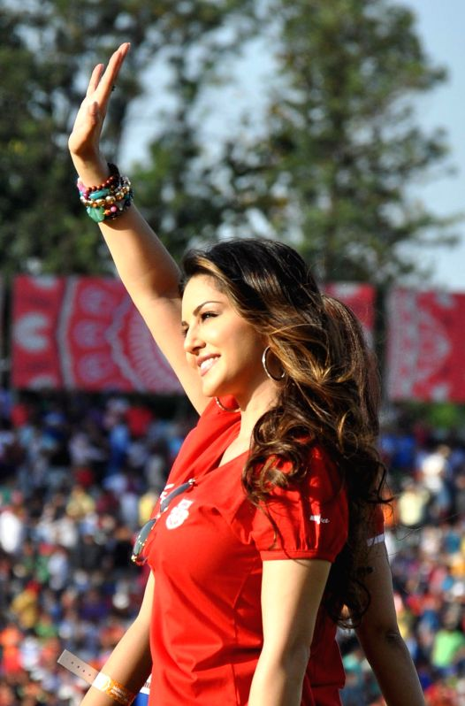 Actress Sunny Leone during an IPL-2015 match between Mumbai Indians and Kings XI Punjab at the Punjab Cricket Association Stadium, in Mohali on May 3, 2015. - Sunny Leone