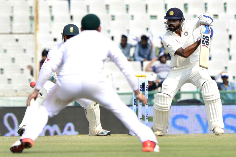 : Mohali: Indian cricketer Murali Vijay in action during the 1st Test match between India and South Africa at Punjab Cricket Association Stadium in Mohali on Nov. 5, 2015. (Photo: IANS).