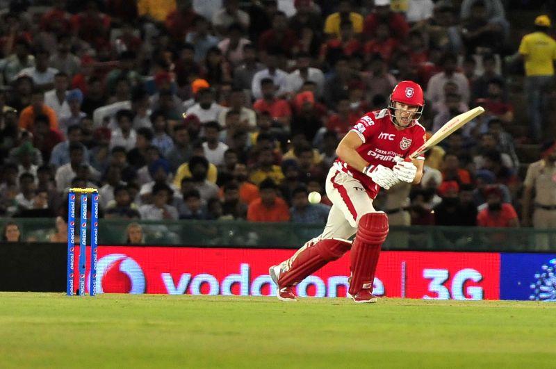 Kings XI Punjab batsman David Miller in action during an IPL-2015 match between Sunrisers Hyderabad  and Kings XI Punjab at Punjab Cricket Association Stadium in Mohali, Punjab on April 27, ... - David Miller