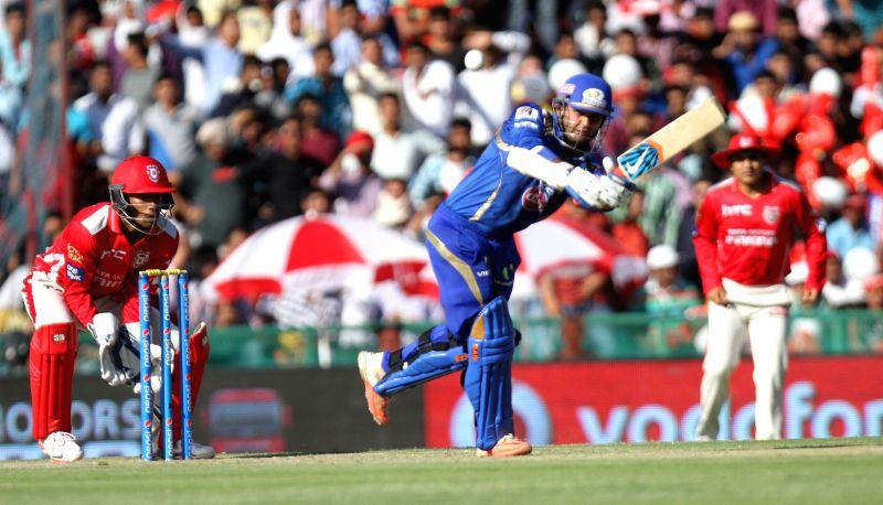 Mumbai Indians batsman Parthiv Patel in action during an IPL-2015 match between Mumbai Indians and Kings XI Punjab at the Punjab Cricket Association Stadium, in Mohali on May 3, 2015. - Parthiv Patel