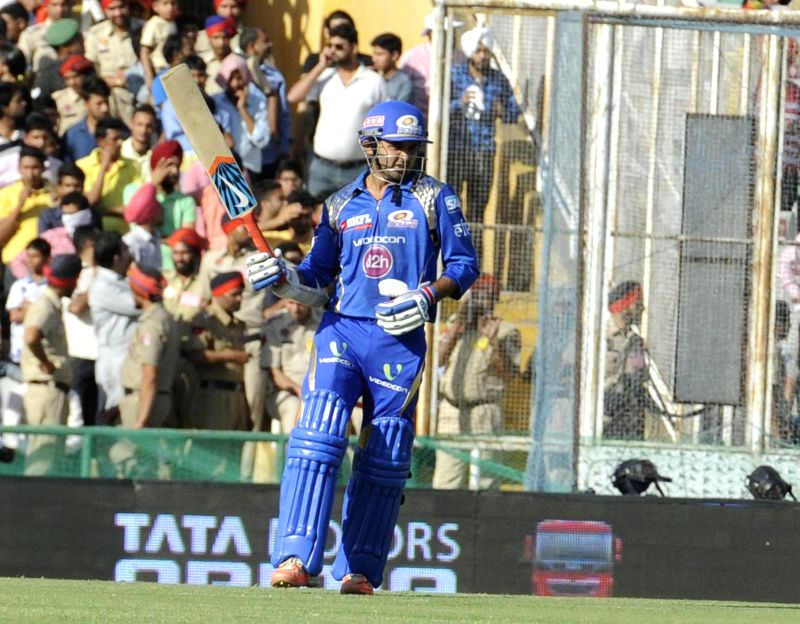 Mumbai Indians batsman Parthiv Patel in action during an IPL-2015 match between Mumbai Indians and Kings XI Punjab at the Punjab Cricket Association Stadium, in Mohali on May 3, 2015. - Parthiv Patel