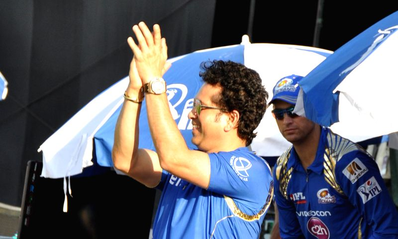 Mumbai Indians (MI) icon Sachin Tendulkar during an IPL-2015 match between Mumbai Indians and Kings XI Punjab at the Punjab Cricket Association Stadium, in Mohali on May 3, 2015. - Sachin Tendulkar
