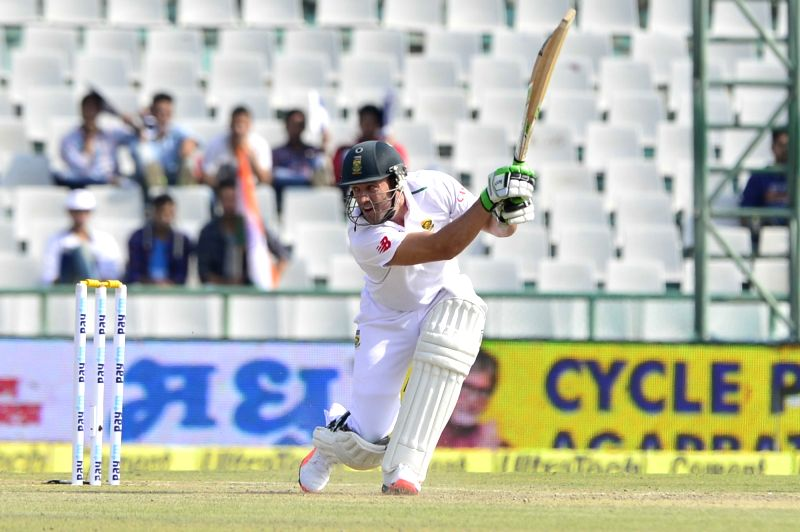 :Mohali: South African AB de Villiers in action during the 1st Test match between India and South Africa at Punjab Cricket Association Stadium in Mohali on Nov. 6, 2015. (Photo: IANS).